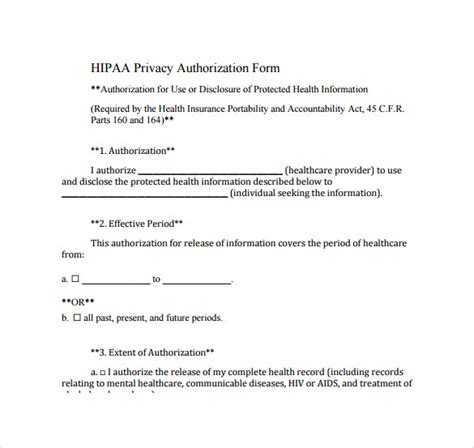 hipaa authorization form 7 documents download in pdf word