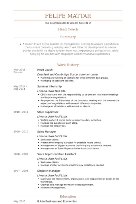 Soccer Resume by Soccer Coach Resume Resume Ideas