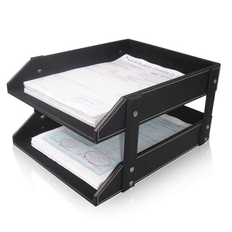 Aliexpress Com Buy Ever Perfect Double Layer Leather Desk Shelf Organizer