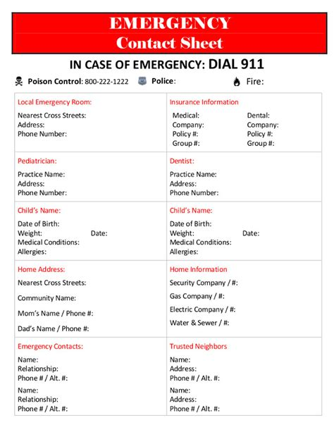 emergency contacts template the lovebug