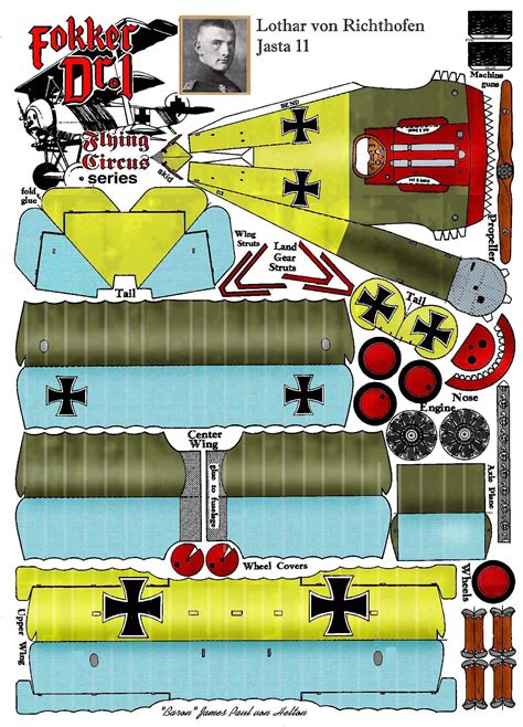 Papercraft Aircraft - fokker dr1 http www fiddlersgreen net models aircraft