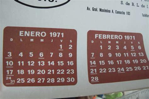 Calendario De 1971 Calendario De 1971 De Tehuacan Puebla Refrescos O Key
