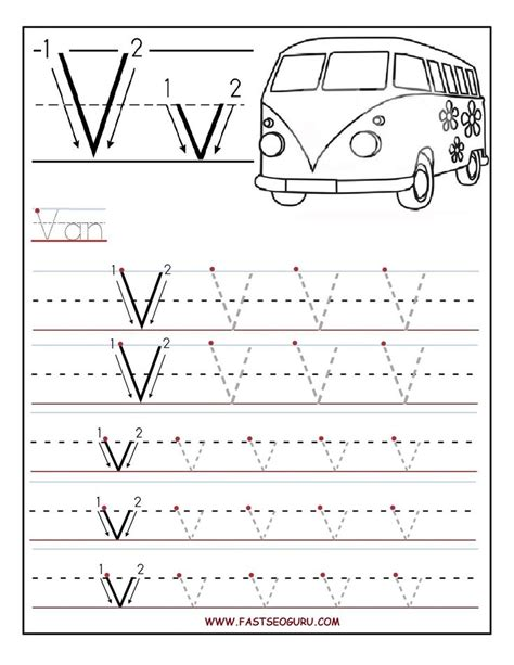 printable letter tracing printable letter v tracing worksheets for preschool