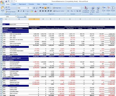 Financial Exle Template Personal Financial Statement Template Excel From