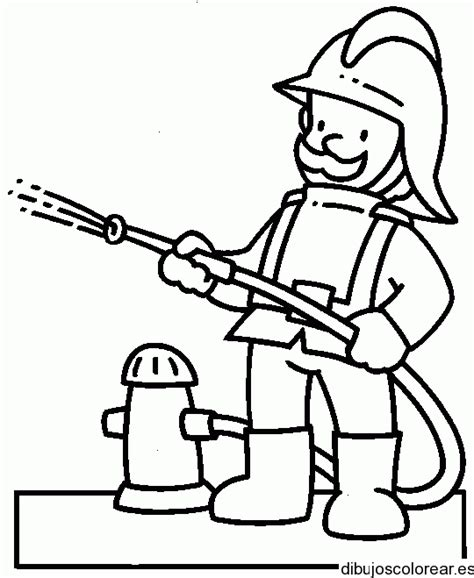 Imagenes De Hombres Trabajando Para Colorear | dibujo de un bombero trabajando
