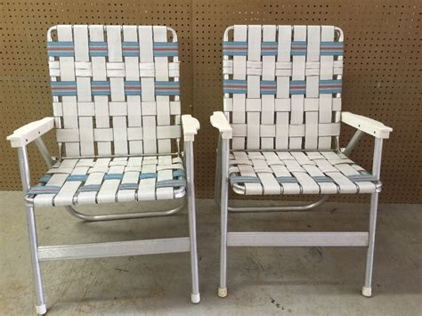 aluminum web folding chairs pair of vintage aluminum webbed folding lawn chairs