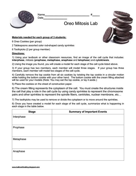 lab worksheet ballin with balling modeling mitosis with oreo cookies 1e designing coherent