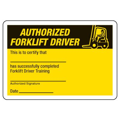 Certification Photo Wallet Cards Authorized Forklift Driver Seton Forklift Card Template