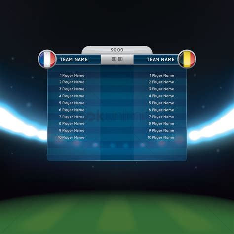 soccer starting lineup template soccer lineup with scoreboard vector image 1819365