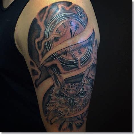 men half sleeve coolest 3d pocket watch tattoo design idea