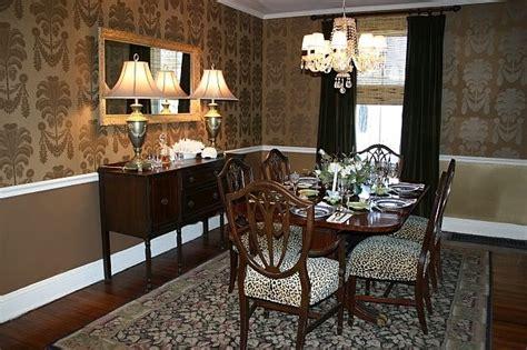 Wallpaper Dining Room Dining Room In Gold Wallpaper From Thibaut