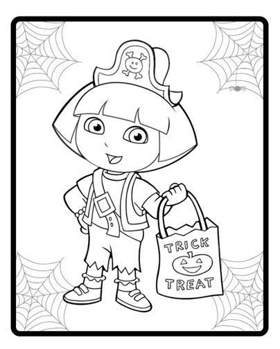 halloween coloring pages dora dora as a pirate silly spooky halloween pinterest