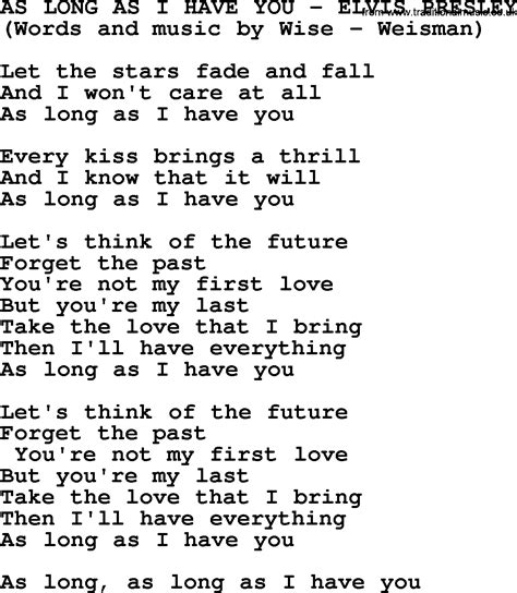 i you song as as i you by elvis lyrics