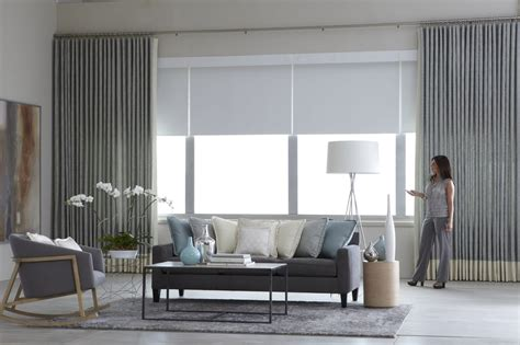 Drapes Bay Window Motorized Curtains With Motorized Solar Shades Yelp