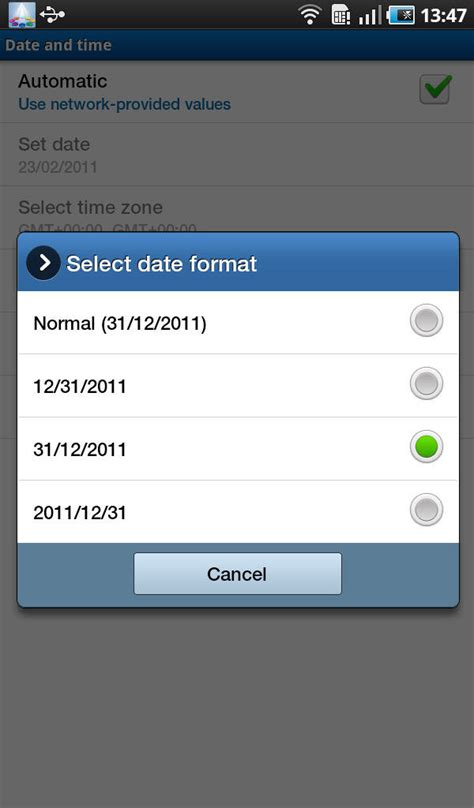 format date android how to set the time date and password on an android
