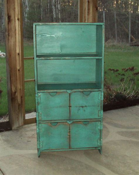 90 Inch Bookshelf by 48 Inch Distressed Turquoise Book Storage Unit