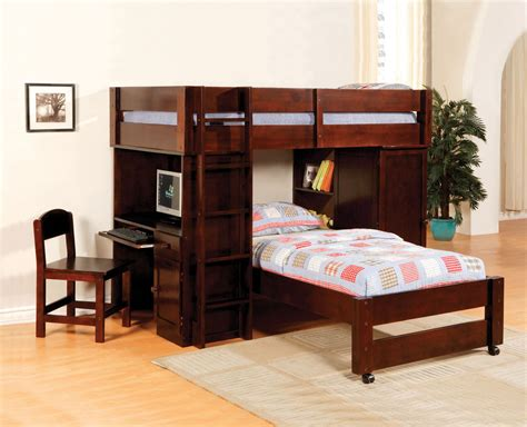 Bunk Bed With Closet Oak Walnut Junior Student Writing Desk Chair Closet