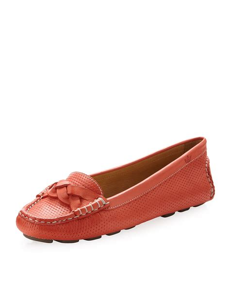 orange leather loafers millar braided leather loafer orange in orange for