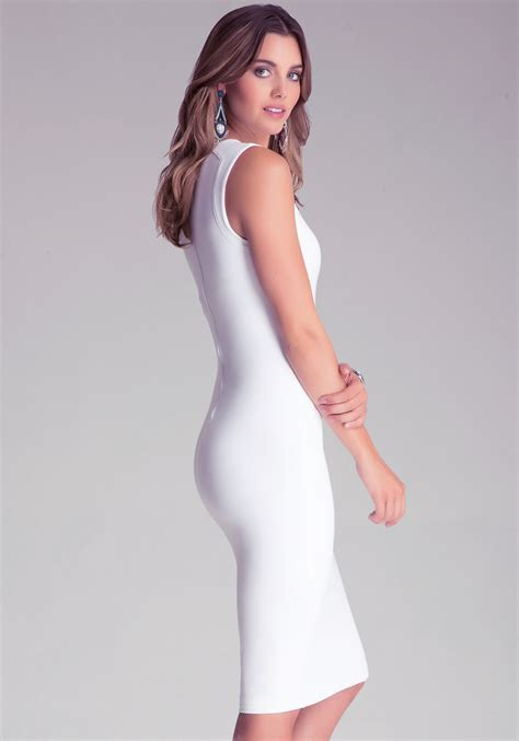 Bebeo More Beautiful Clothes From by Bebe Bodycon Midi Dress In White Lyst