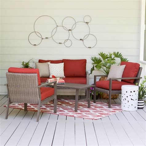 4 conversation patio set amazonia murano 4 eucalyptus patio conversation set with white cushions sc kingsbury