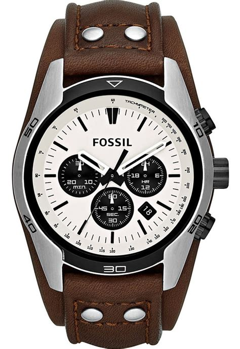 Fossil Fs0115 Brown List White fossil mens ch2890 chronograph white brown leather