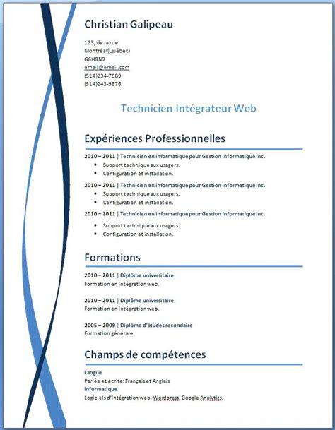 cv modeles simples modele cv simple a imprimer gratuit