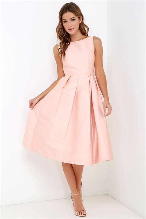 blush dress midi dress fit  flare dress