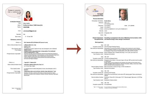 format cv europeo word cv europeo modifica curriculum vitae 2018