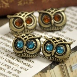 Earing Owl Ready time vintage style owl necklace and earring set choice of color for earrings gift