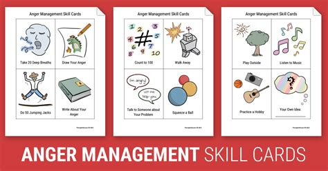 Coping Card Template by Anger Management Skill Cards Worksheet Therapist Aid