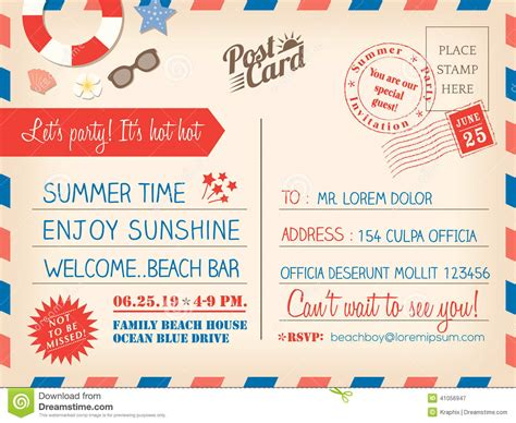 vintage summer holiday postcard background template for