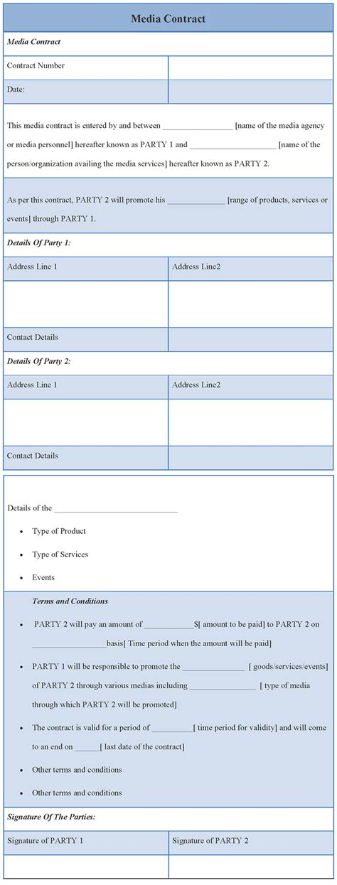 contract template for media template of media contract