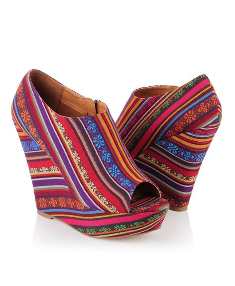 tribal pattern wedges desert striped wedge booties only 34 80 shoes tribal