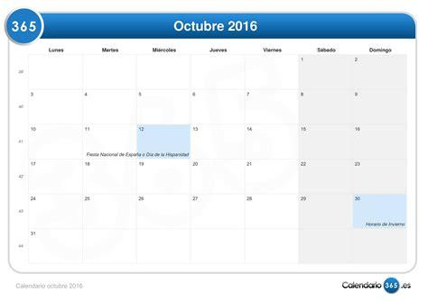 Calendario 2016 Octubre Calendario Octubre 2016