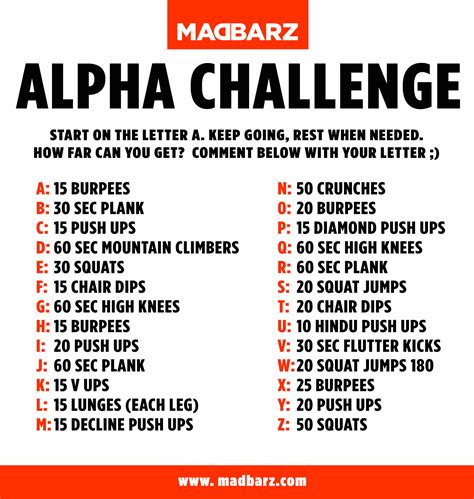 home workout challenge madbarz alpha
