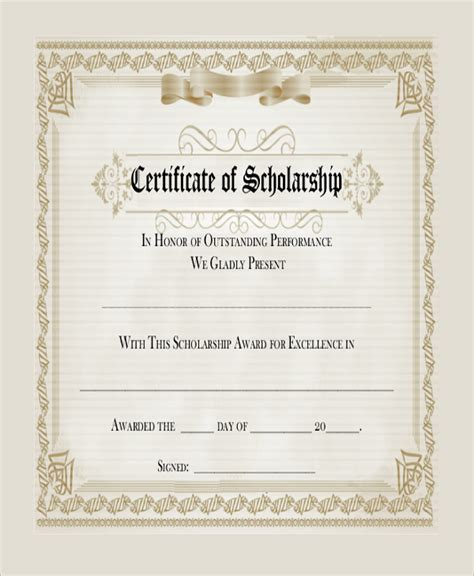 scholarship certificate sle blank certificate 8 documents in pdf word