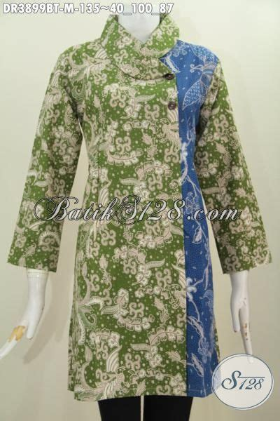 Dress Batik Tulis Biru dress batik kerah miring kombinasi dua warna busana batik
