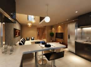Kitchen dining sets 3d perspective minimalist dining kitchen and