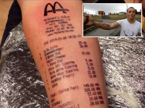 mcdonalds receipt tattoo shows mcdonald s receipt newsbite