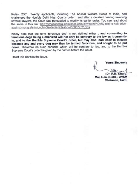 Complaint Letter To Council About Barking Awbi Reiterates To Bbmp Culling Of Ferocious Or Nuisance Dogs Is Contrary To The