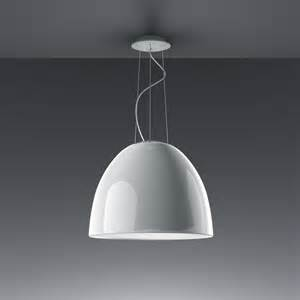 white hanging lights artemide nur gloss fluo a242300 white pendant light