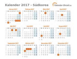 Korea Kalendar 2018 Feiertage 2017 S 252 Dkorea Kalender 220 Bersicht