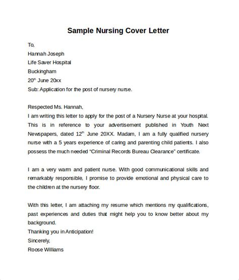 Cover Letter For Nursing Position Exles by Nursing Cover Letter Template 9 Free Sles Exles Formats