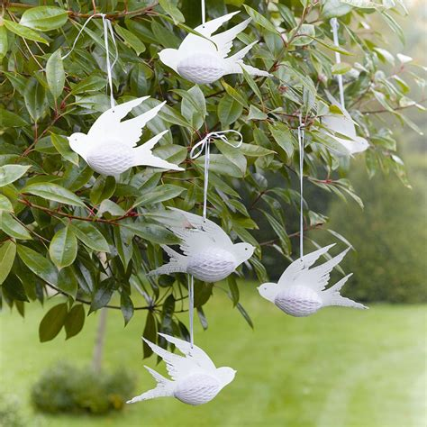Hanging Paper Bird Decorations by 3 X Pretty Birds Paper Hanging Honeycomb White Birds