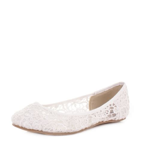 womens wedding shoes flats womens flat ivory lace satin brides wedding ballerina