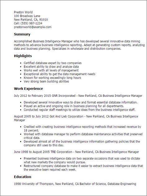 Business Intelligence Project Manager Sle Resume by Professional Business Intelligence Manager Templates To Showcase Your Talent Myperfectresume