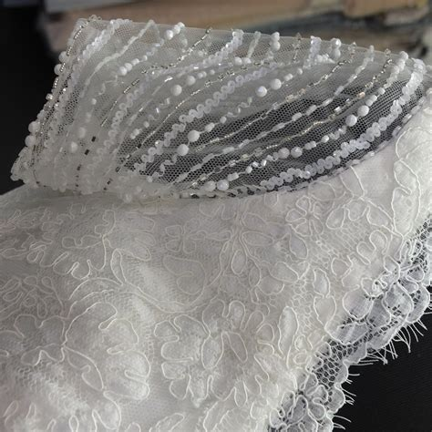 beaded chantilly lace chantilly lace fit and flare beaded lace wedding dress
