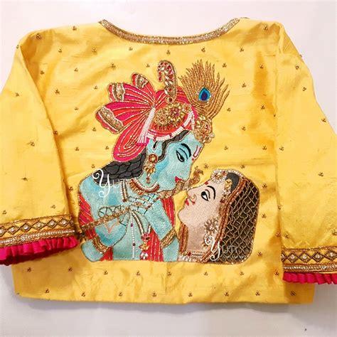 krishna house goddess lakshmi and radha krishna blouse by yuti designer