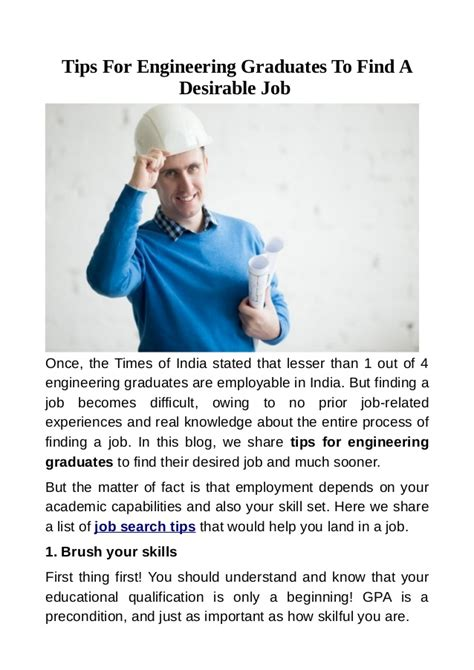 Advice For A Graduating Engineer For Future Mba by Tips For Engineering Graduates To Find A Desirable