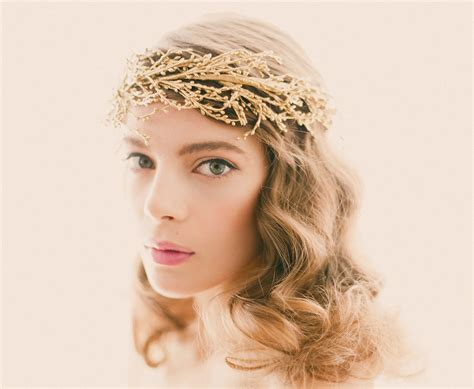 Wedding Headpiece White And Gold golden bridal headpiece gold or silver wedding crown bridal